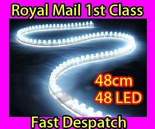 2 X Car White 24 Led Bulb Flexible Light Strip 24cm 12v Waterproof Professioneel Ontwerp