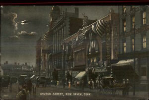 New-Haven-CT-Church-Street-at-Night-c1910-Postcard