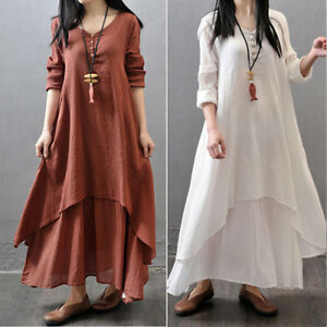 13c4ac317eb Women Vintage Bohemian Plus Size Maxi Dress Loose Long Sleeve Linen ...