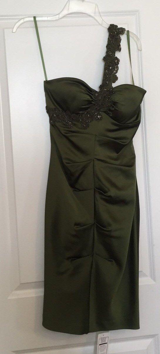 NWT Cache Grün One-Shoulder Dress with sequins Größe 8
