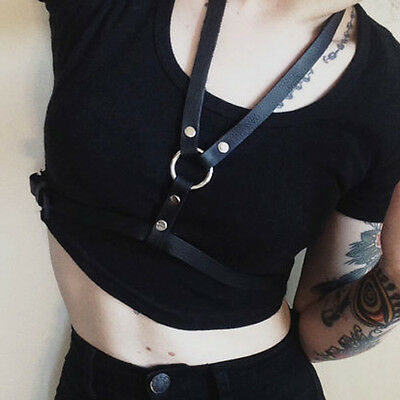 Handmade Basic Style Halter Real Leather Harness Body Bondage Cage Waist Belt