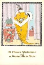 Christmas New Year Greetings Art Deco Lady Yellow Coat Koehler Postcard J65043