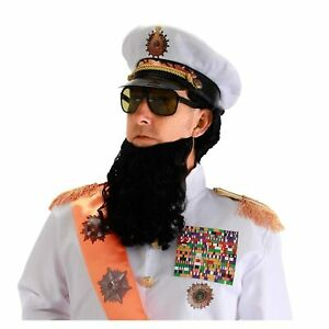 Adult-Comedy-Movie-The-Dictator-Ruler-Hat-Beard-Glasses-Costume-Accessory-Kit