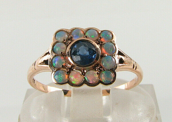 DAINTY 9K 9CT pink gold blueE SAPPHIRE AUS OPAL ART DECO SQUARE INS RING FREE Sz