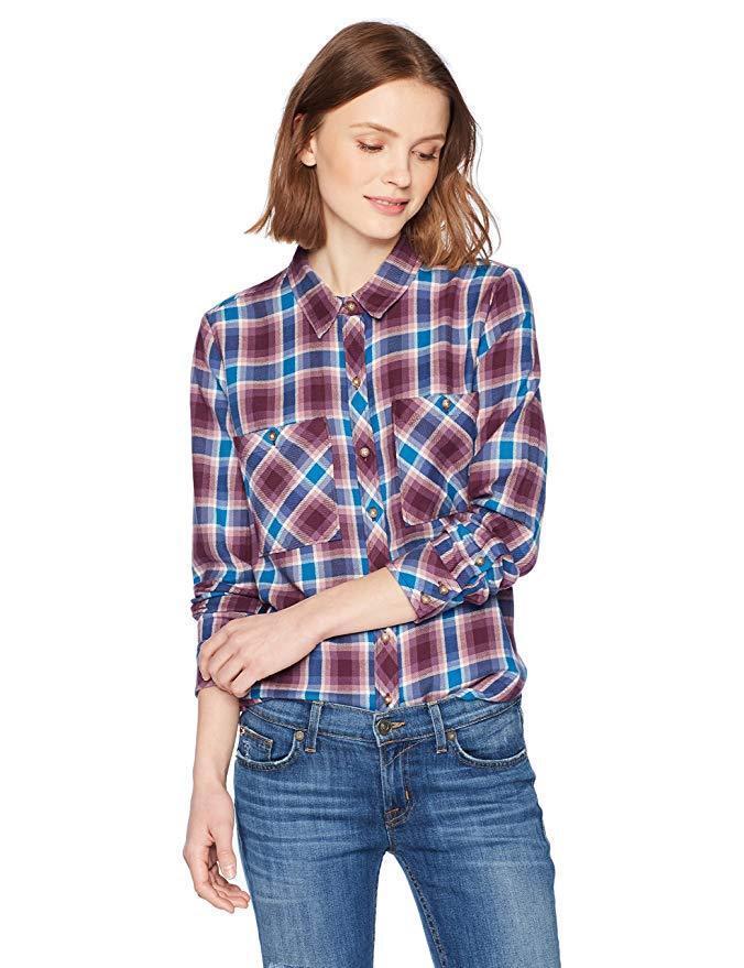 Lucky Brand - Damen XL - Nwt   79 - Lila Blau Kariert Baumwolle Button-Down Hemd