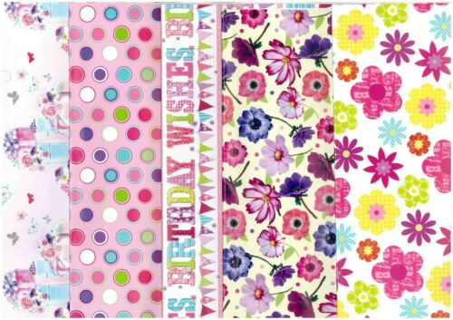 5 Sheets Female Birthday Gift Wrapping Paper Flowers// Retro Dots  SPECIAL BUY