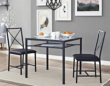 3 Piece Dinette Set Glass Top Table Metal Chair Dinner Dining Kitchen Small