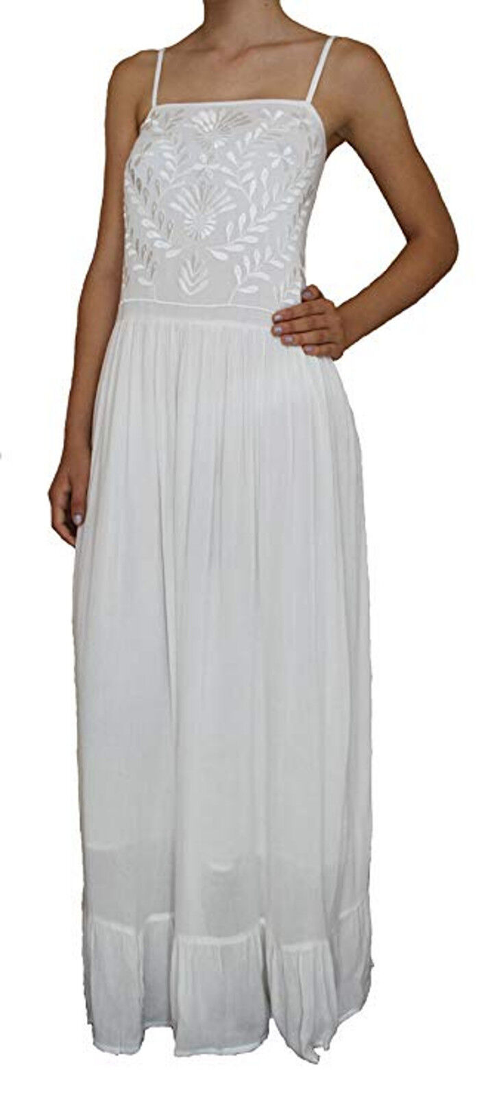 Sacred Threads Long White Dress w Embroidery -
