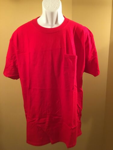 Hanes Mens T Shirt Beefy Adult Pocket 100/% Cotton Blank Short Sleeve Large
