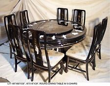 Oriental Round Dining Room Set Furniture Black Lacquer Mother Of Pearl