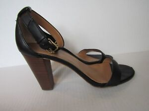 288a3255eac6fd J. Crew Factory Women s Black Stacked Heel Ankle Strap Sandals Size ...