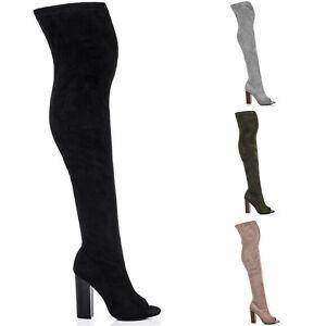 Image is loading Womens-Open-Peep-Toe-Block-Heel-Over-Knee- 1b5bb48fd