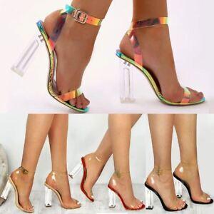 1746b58fe8d Image is loading Womens-Ladies-High-Heels-Sandals-Hologram-Perspex-Clear-