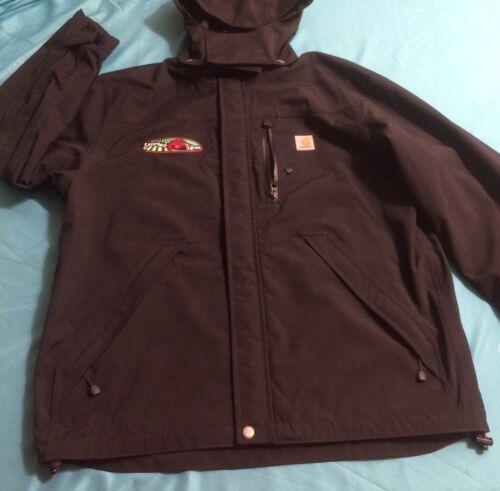 carhartt Jacket With A Hood Black Inside Gray Logo
