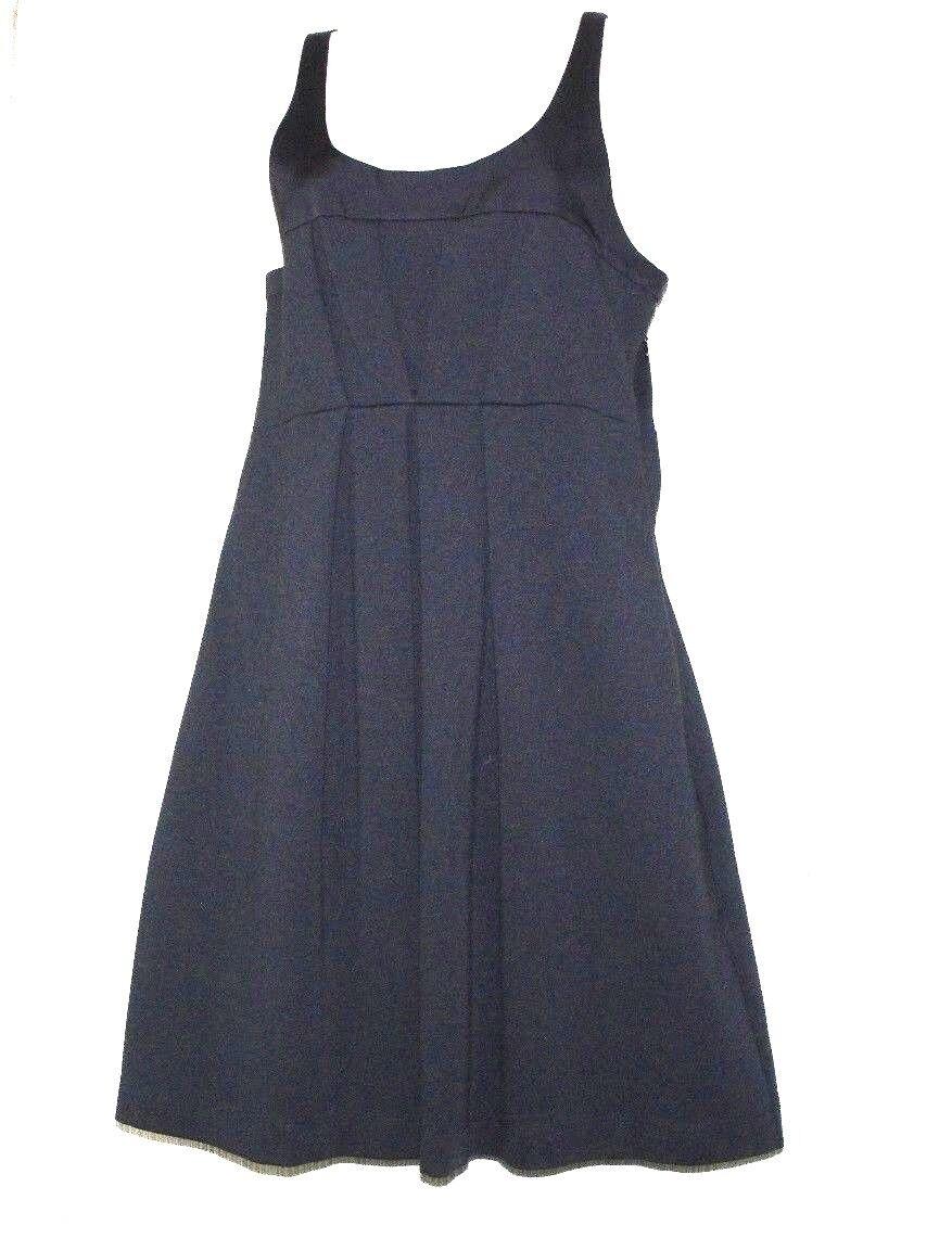 Theory schwarz Cotton Blend Sleeveless Pleated Front Pockets Knit Dress Größe 8