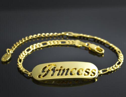 Princess-nombre en una pulsera-Plateado-de 18 quilates chapado en oro-Regalos Para Ella