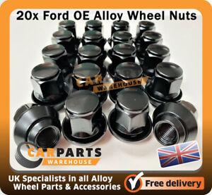 Ford Focus OE Alloy Wheel Nuts, 19mm Hex M12 X 1.5 Taper Black x20