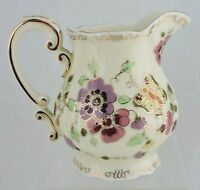VINTAGE Zsolnay Hungary Pansy Flowers & Butterfly Creamer Gold Pink Rare