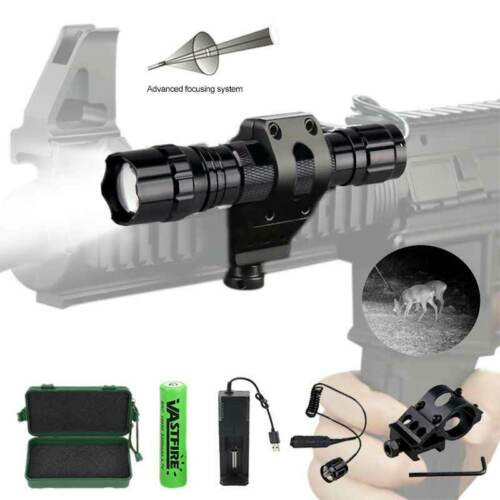 Zoomable IR Infrared Hunting Torch Tactical Pistol Flashlight+Rifle Socpe Mount