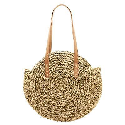 Women Girl Straw Shoulder Handbag Summer Beach Travel Messenger Bag Purse Tote
