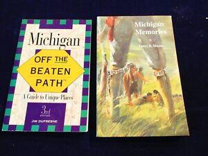 Michigan-Memories-History-and-Michigan-Off-the-Beaten-Path-Travel-2-Book-Lot-Ak
