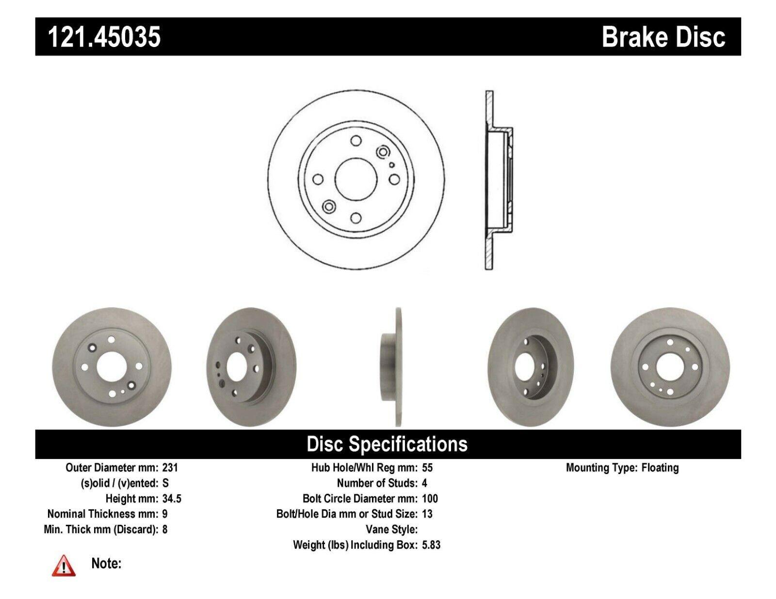 Centric Brake Disc Rear Driver or Passenger Side New RWD RH 121.45035
