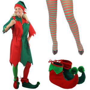 4add51896416 LADIES ELF COSTUME SANTAS HELPER ADULT STRIPED TIGHTS XMAS CHRISTMAS ...