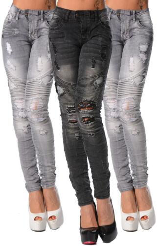 Slim lastique Femmes Pantalons Motard gris 690 Jeans S Collant Noir Sexy 68ZxdOq6