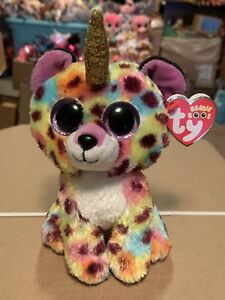 """Ty GISELLE -Multicolored Tie-Dyed Leopard w Golden Horn 6"""" Beanie ... 9d42a01e3aa1"""