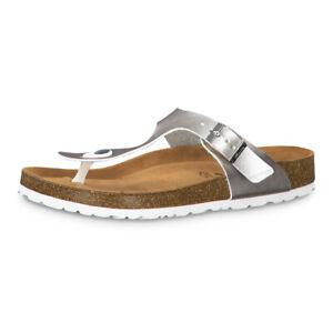 Details zu Tamaris Damen Zehentrenner 27522 Sandale Latschen LEDER Innensohle Silver silber