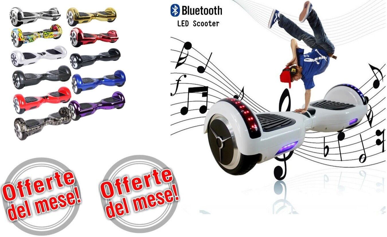 HOVERBOARD 6,5 POLLICI bluTOOTH LUCI LED bluTOOTH POLLICI MONOPATTINO ELETTRICO SCOOTER 98d7f4