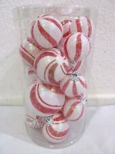 (19) Christmas Peppermint Red White Glitter Ball Candy Ornaments
