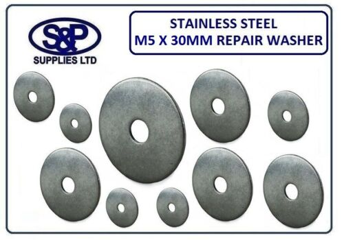 """X 30MM 3//16/"""" - 5MM ST//STEEL REPAIR WASHER PENNY WASHER 30MM OUTSIDE 1.14/"""" M5"""