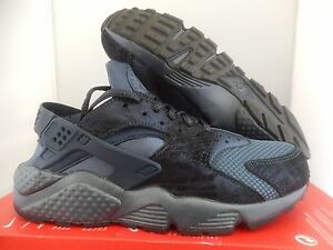 NIKE AIR HUARACHE RUN PRM PREMIUM METALLIC NAVY BLUE SZ 6 [683818-900]