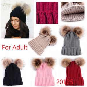 2e1ade23ad598 Women s Winter Beanie Outdoor Chunky Knit with Double Fur Pom Pom ...