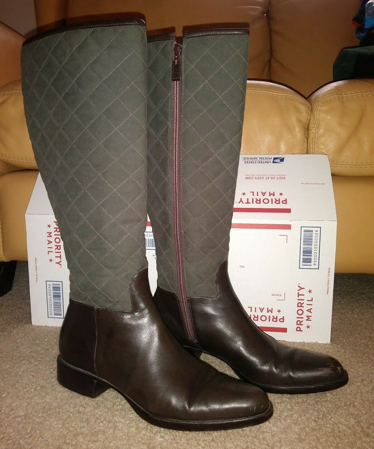 Ralph Lauren Ladies KAMILLE Quilted Riding Leather Boots Khaki  Brown Size 8.5B