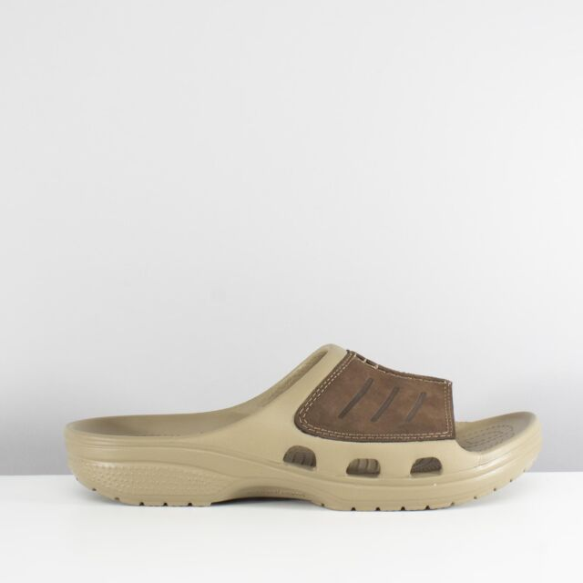 74b61831c92a40 Crocs YUKON MESA SLIDE Mens Slip On Leather Croslite Mule Sandals Khaki  Espresso