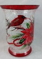 Kirkland's Christmas Hurricane Votive Holder Hand Painted Cardinal Pointsetta