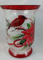 Kirkland's Christmas Hurricane Votive Holder Hand Painted Cardinal Pointsetta