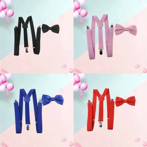 Suspender and Bow Tie Set Tuxedo Wedding Costume Prom for Adults Men Women Teens