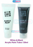 BLACK AND WHITE 120ML ACRYLIC COLOUR TUBES PAINT ARTIST ART & CRAFT PAINT SET