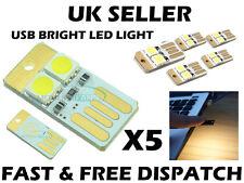 5 X SUPER WHITE USB LUCE LED luce notturna TASTIERA TOUCH SWITCH PORTACHIAVI del Regno Unito