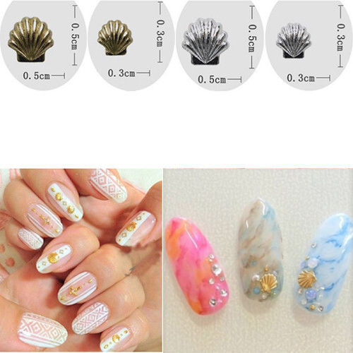 Cute 50pcs Alloy Metal Shell Seashell Beads Studs For Nail Art Phone Decor Craft