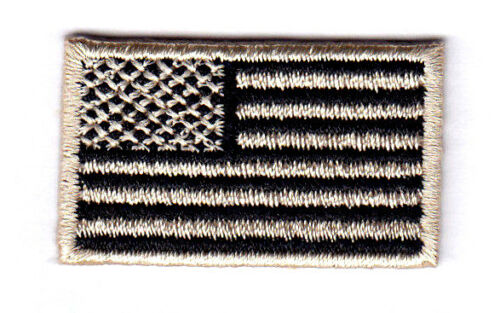"""USA Patriotic 1 1//2/"""" x 7//8/"""" AMERICAN FLAG BLACK AND TAN SMALL Iron On Patch"""
