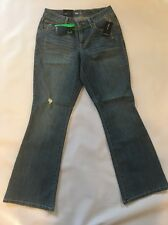 Style&Co Medium Wash Size 4S Flare Denim Jeans, Mid Rise, Curvy Fit, Distressed