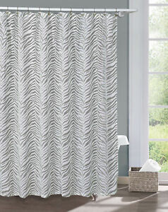 Image Is Loading Gray And White Printed Sheer Shower Curtain Zebra