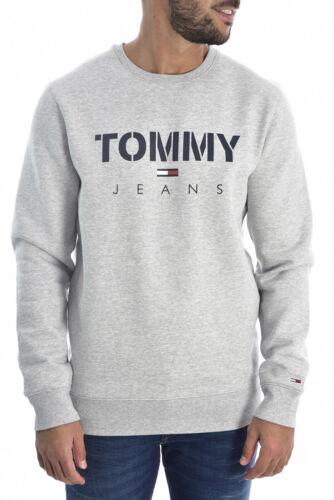 Tommy Jeans Gris Sweat Pull Pullover Logo Signature Tailles M /& L Bnwt