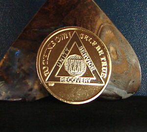 Gold Bi Plated Alcoholics Anonymous AA 31 Year Medallion Coin Chip Token Sober