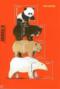 FEUILLET-F4844-NEUF-XX-LUXE-LES-OURS-PANDA-ANDIN-BLANC-POLAIRE-KERMODE