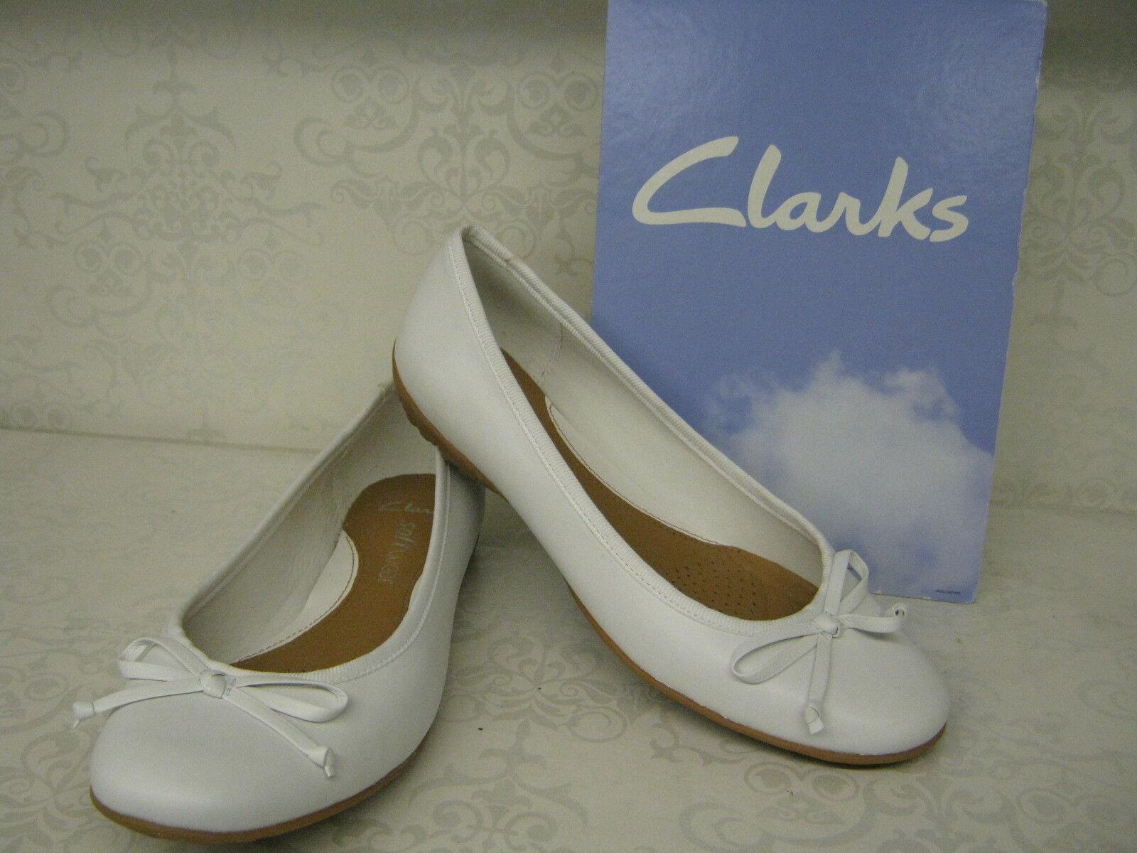 Clarks Arizona infilare calore bianco in pelle da infilare Arizona scarpe stile Ballerina c32973